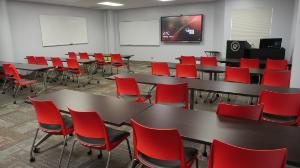 A picture of Evans Library classroom 204, the Link room.